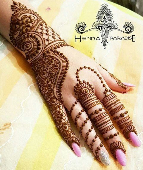 Back Hand Mehndi Design For Wedding