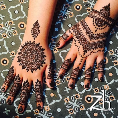 Heavy Back Hand Mehndi Design  For Wedding