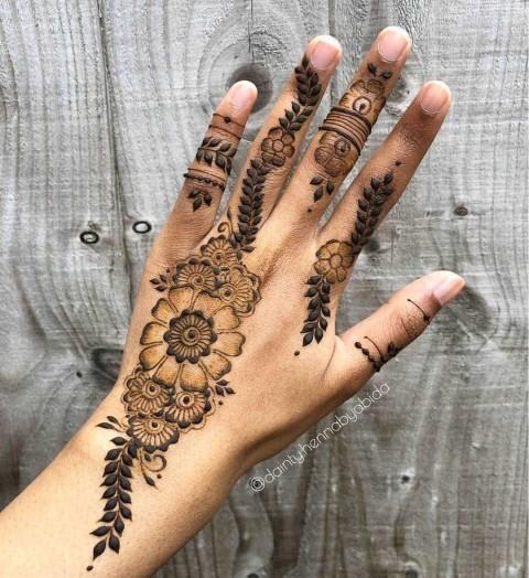 Short Simple Back Hand Mehndi Design Images